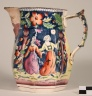 """G44-4; Pitcher, North Wind face spout, """"early French ware"""""""