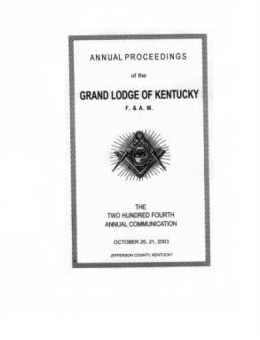 2003 - Proceedings of the Grand Lodge, F. & A.M., of Kentucky