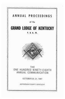 1997 - Proceedings of the Grand Lodge, F. & A.M., of Kentucky