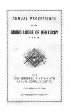 1998 - Proceedings of the Grand Lodge, F. & A.M., of Kentucky