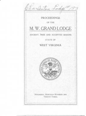 1923 - Proceedings of the Grand Lodge, A.F. & A.M., of West Virginia