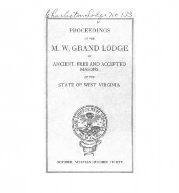 1930 - Proceedings of the Grand Lodge, A.F. & A.M., of West Virginia