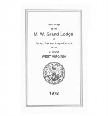 1978 - Proceedings of the Grand Lodge, A.F. & A.M., of West Virginia