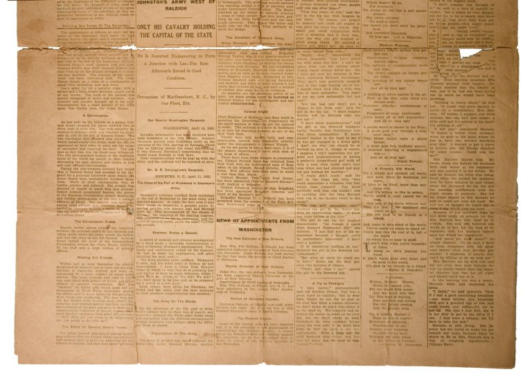 L54-248; Newspaper, President Abraham Lincoln's death (reproduction copy)