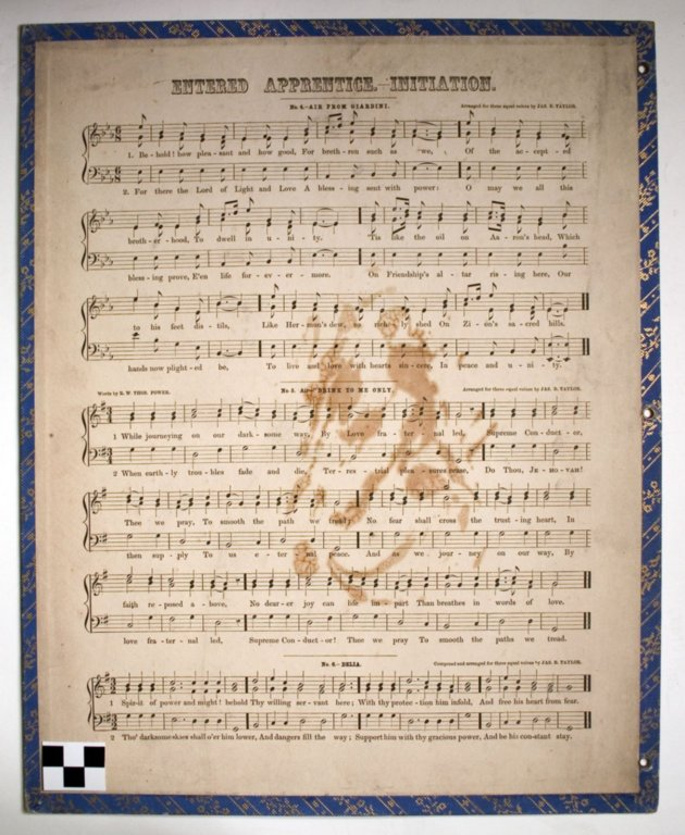 V53-13 a-h; Music, sheets, Book of the Lodge